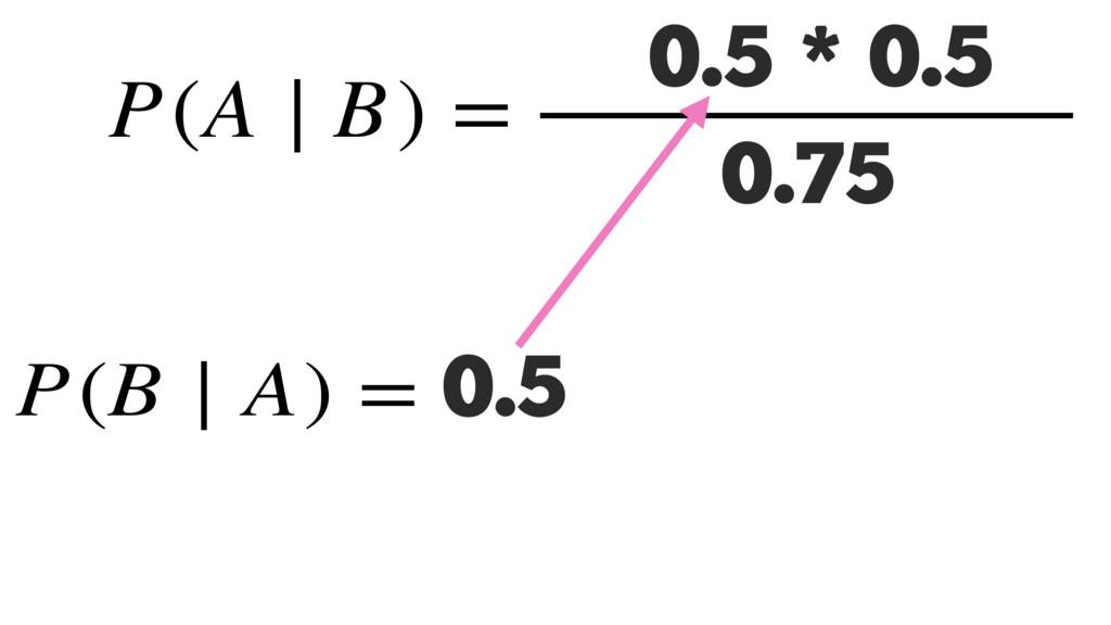 P(B ∣ A) = 0.5 P(A ∣ B) = P(B ∣ A) P(A) P(B) 0....