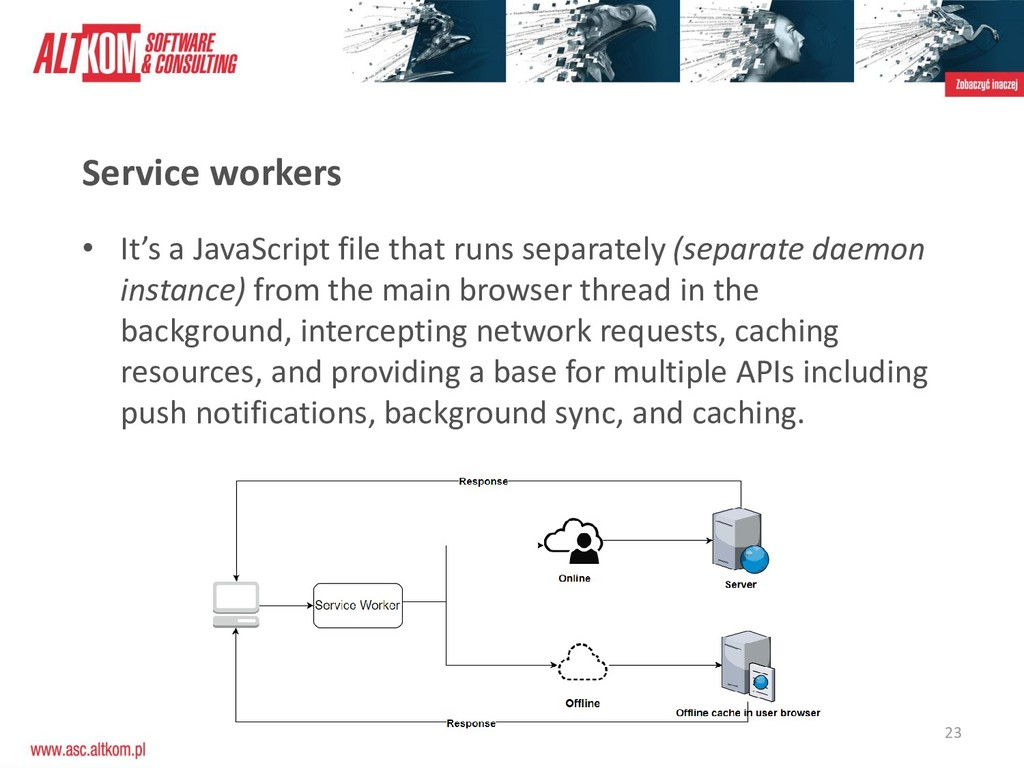 23 Service workers • It's a JavaScript file tha...