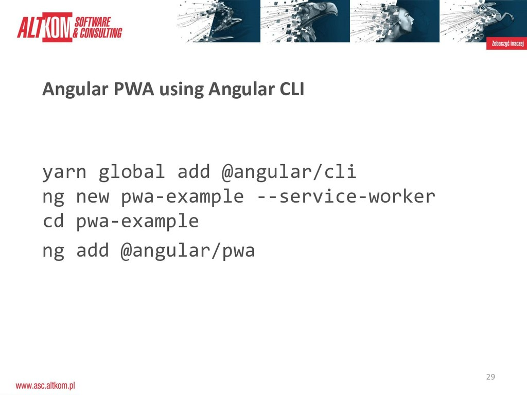 29 Angular PWA using Angular CLI yarn global ad...