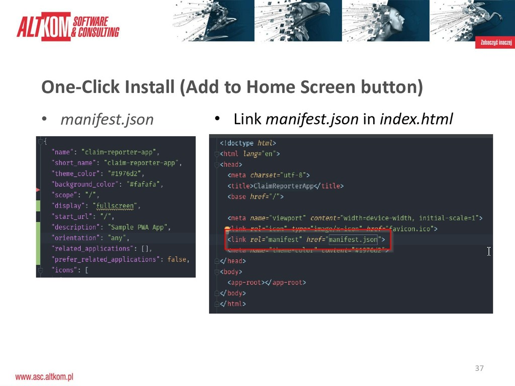 37 One-Click Install (Add to Home Screen button...