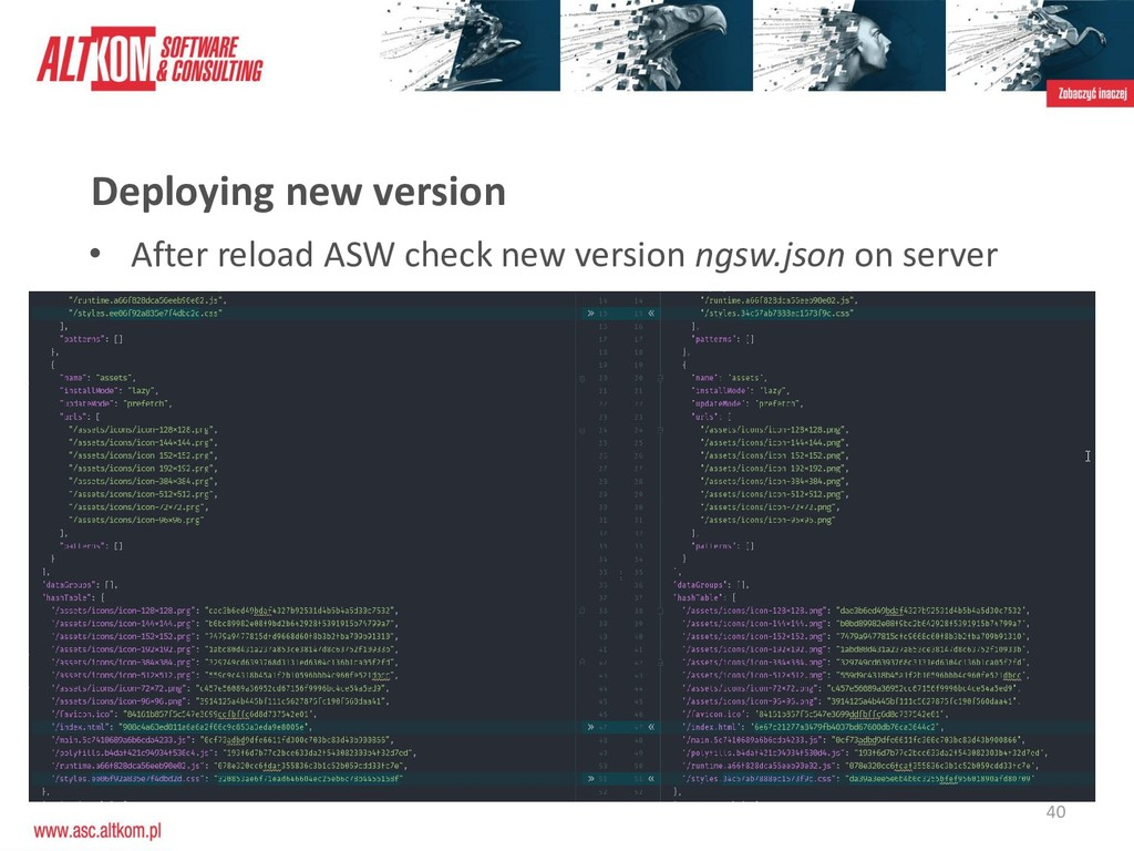 40 Deploying new version • After reload ASW che...