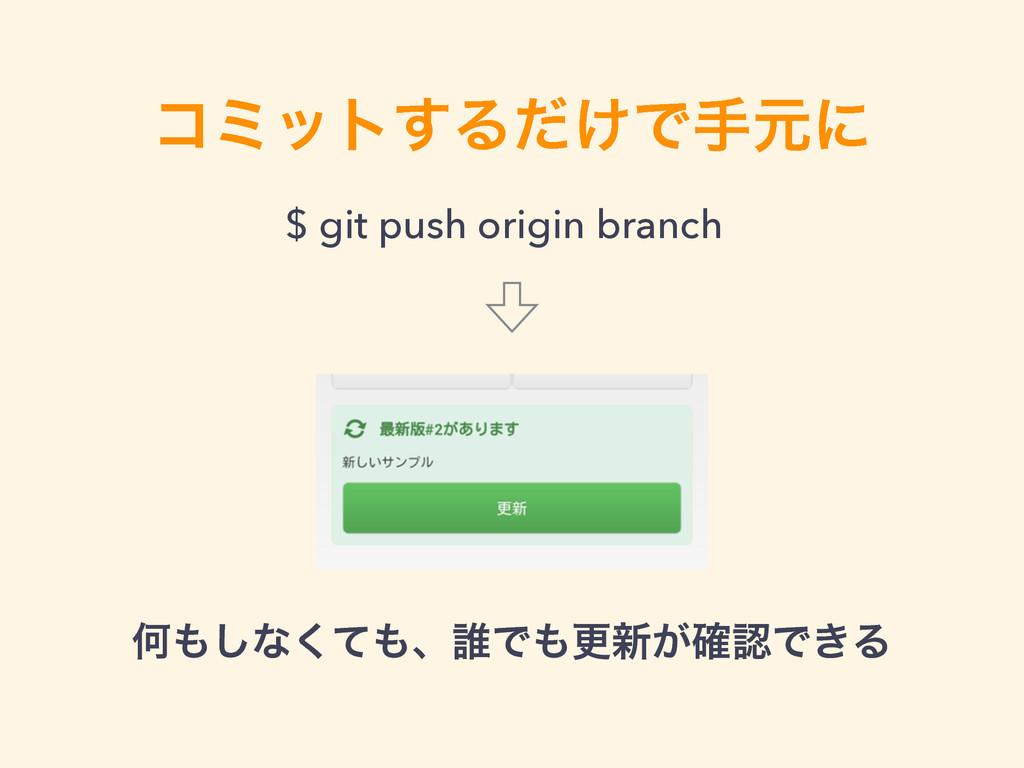 ίϛοτ͢Δ͚ͩͰखݩʹ $ git push origin branch Կ͠ͳͯ͘ɺ୭...