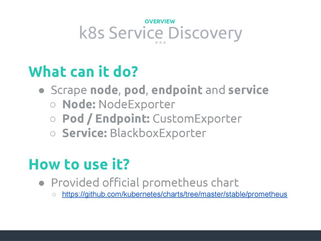 k8s Service Discovery OVERVIEW ● Scrape node, p...