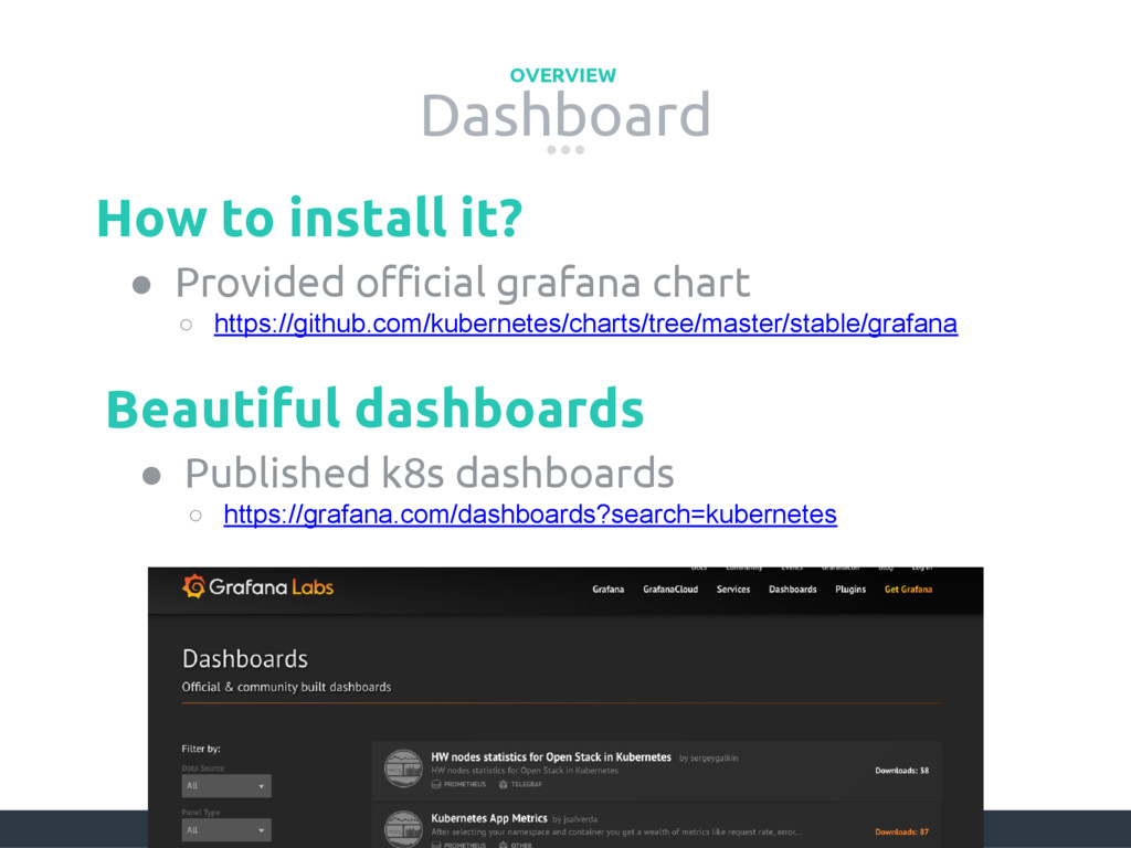 Dashboard OVERVIEW ● Provided official grafana ...