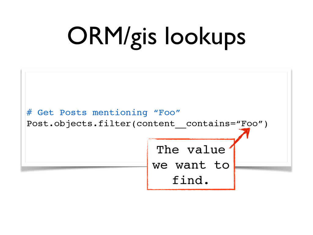 """ORM/gis lookups # Get Posts mentioning """"Foo""""! P..."""