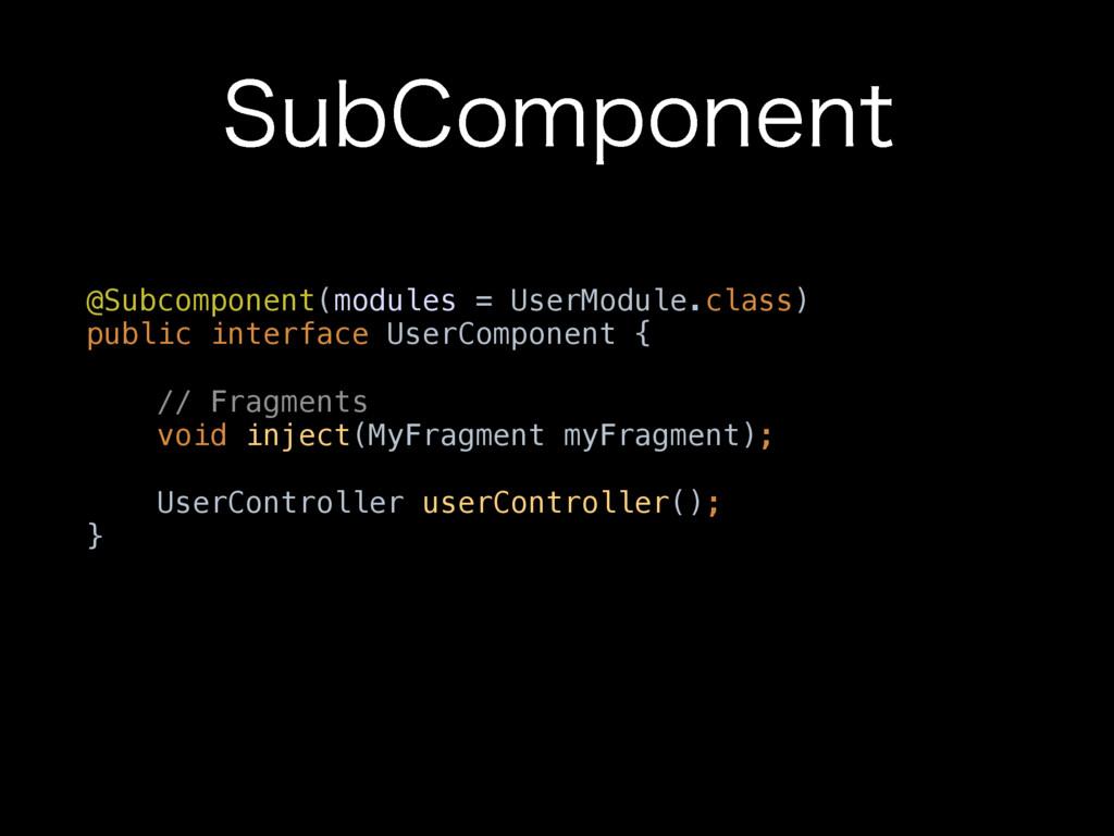 4VC$PNQPOFOU @Subcomponent(modules = UserModule...