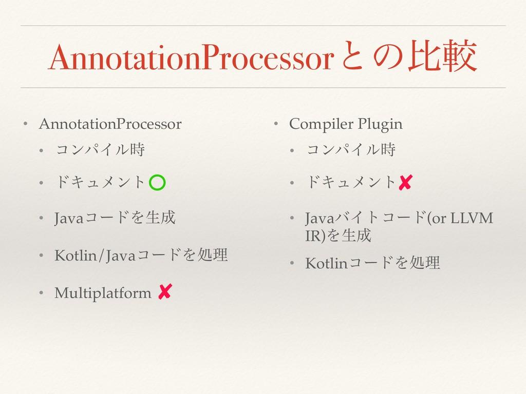 AnnotationProcessorͱͷൺֱ • AnnotationProcessor •...