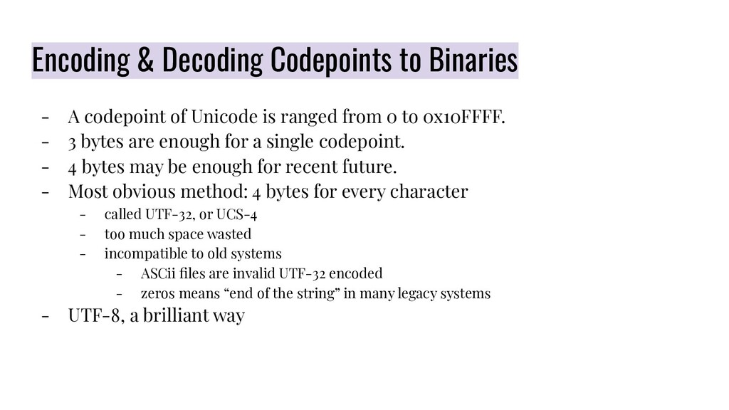 Encoding & Decoding Codepoints to Binaries - A ...