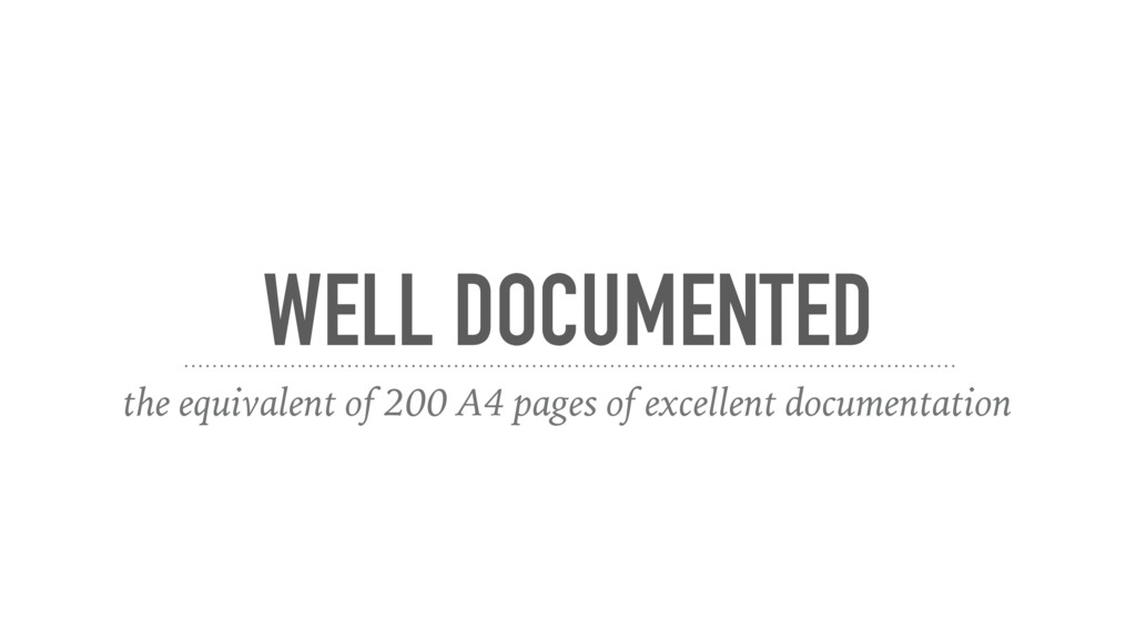 WELL DOCUMENTED the equivalent of 200 A4 pages ...