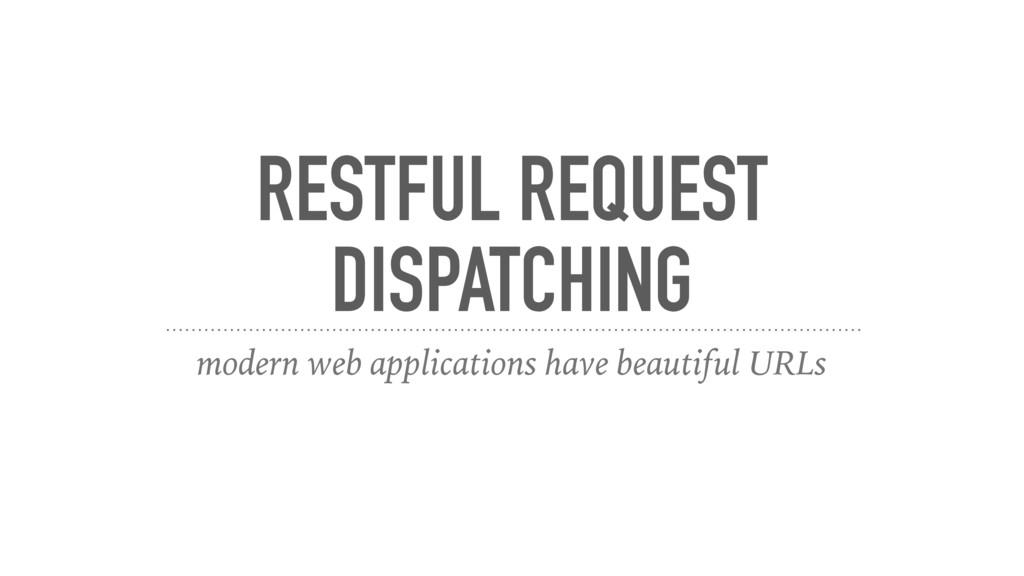 RESTFUL REQUEST DISPATCHING modern web applicat...