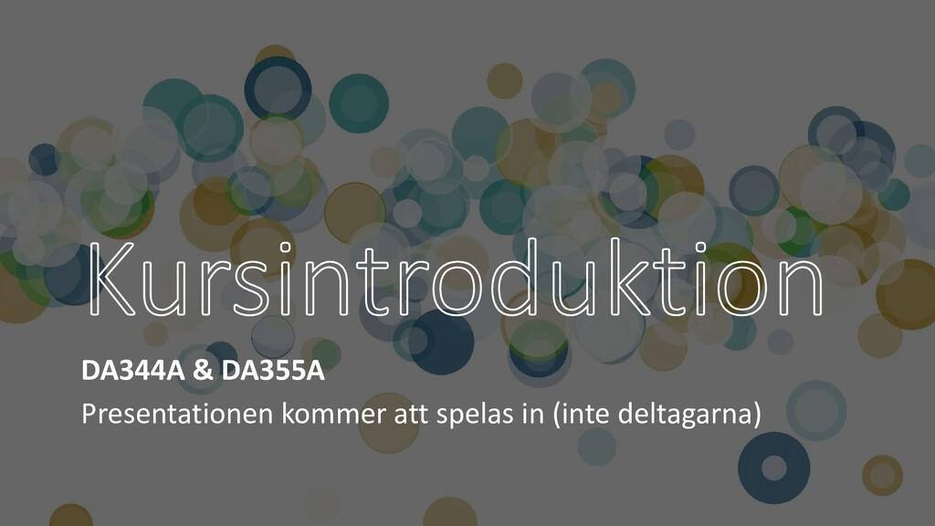 DA344A & DA355A Presentationen kommer att spela...