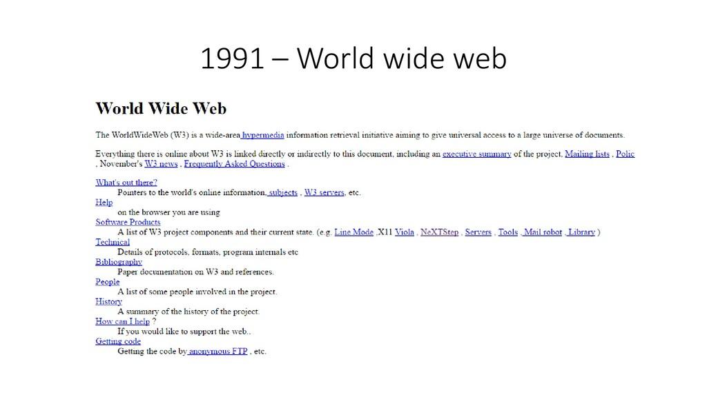 1991 – World wide web