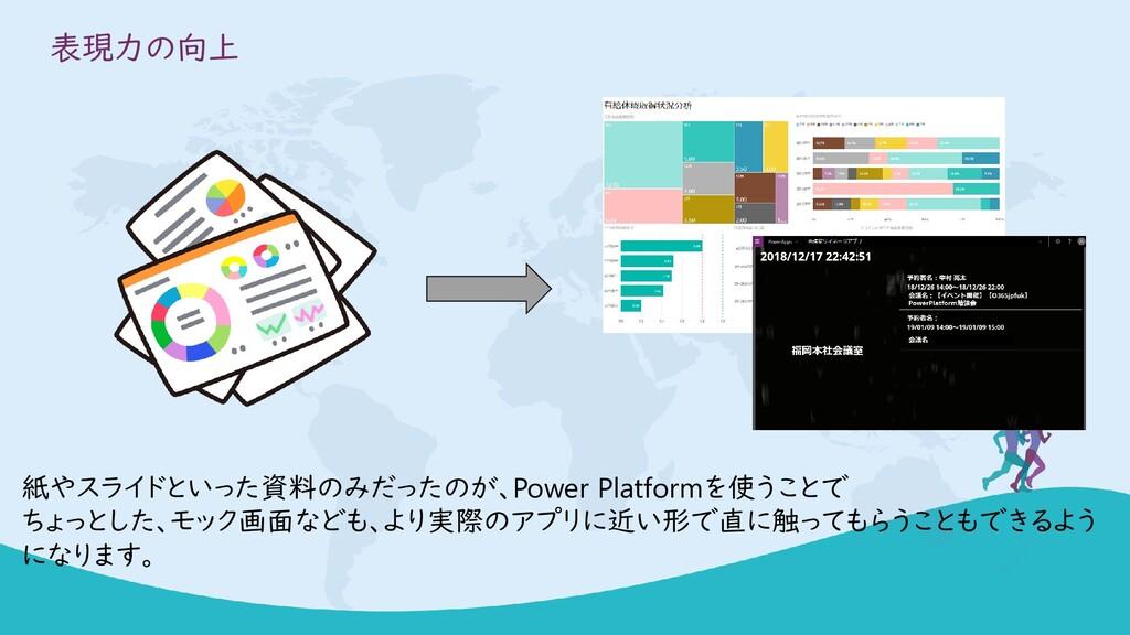 表現力の向上 紙やスライドといった資料のみだったのが、Power Platformを使うことで...