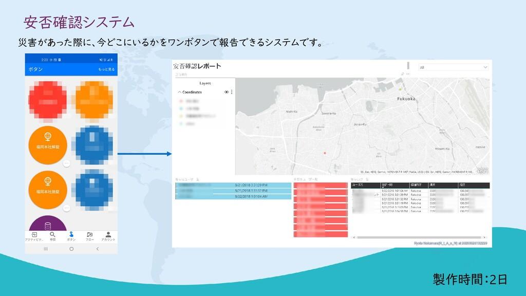 安否確認システム 災害があった際に、今どこにいるかをワンボタンで報告できるシステムです。 製作...