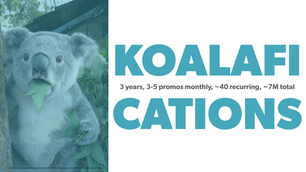 KOALAFI CATIONS 3 years, 3-5 promos monthly, ~4...
