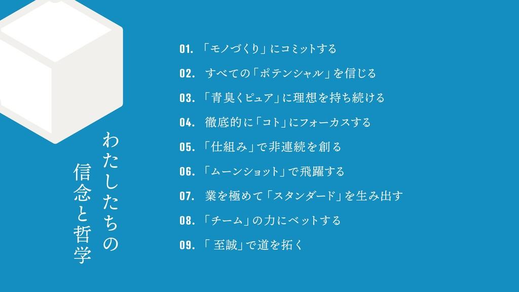 01.  「モノづく り」 にコミ ッ トする 02.  すべての 「ポテンシャル」 ...