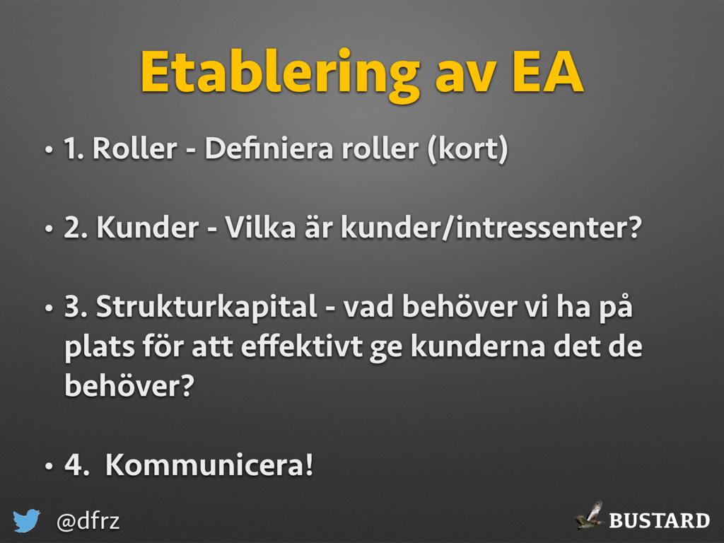 BUSTARD @dfrz Etablering av EA • 1. Roller - De...