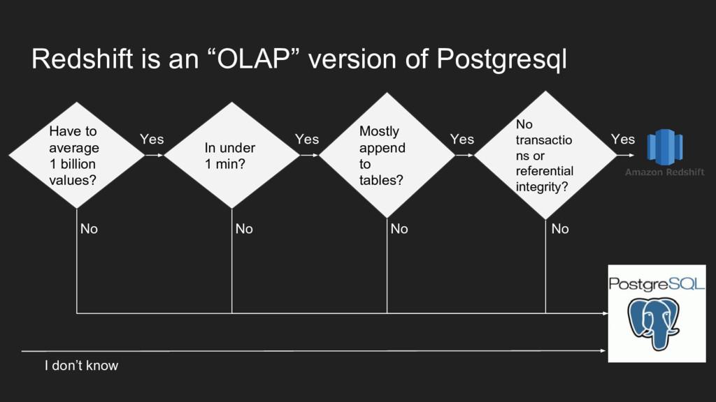 "Redshift is an ""OLAP"" version of Postgresql Hav..."