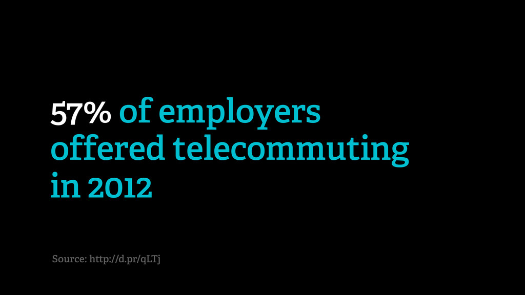57% of employers offered telecommuting in 2012 ...