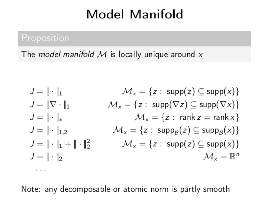 Model Manifold Proposition The model manifold M...