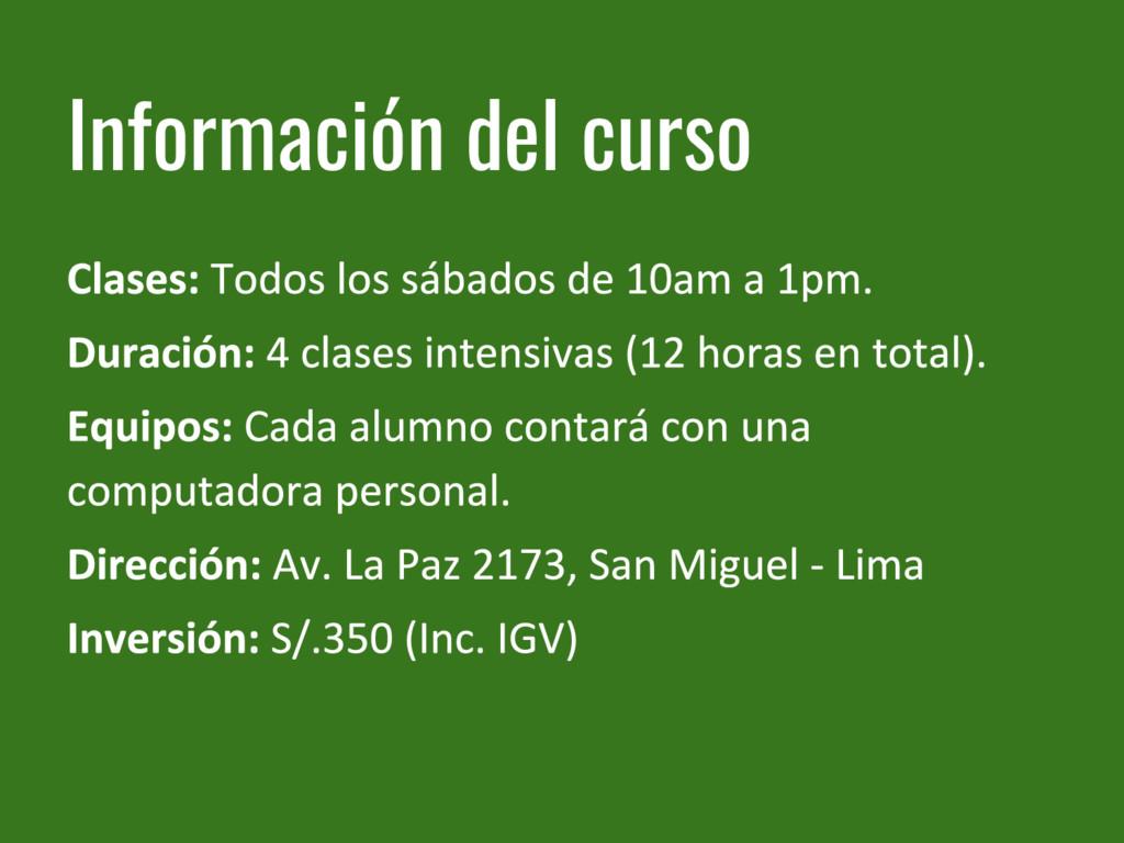 Información del curso