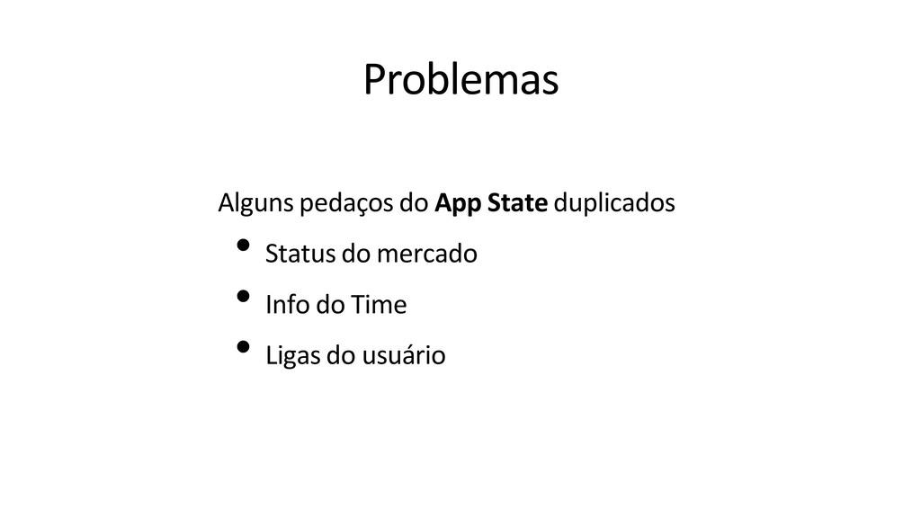 Problemas Alguns pedaços do App State duplicado...