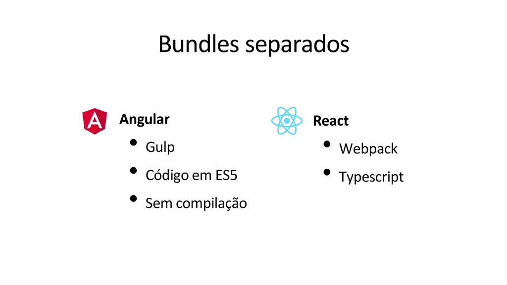 Bundles separados Angular • Gulp • Código em ES...