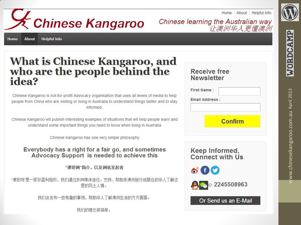 www.chinesekangaroo.com.au April 2013