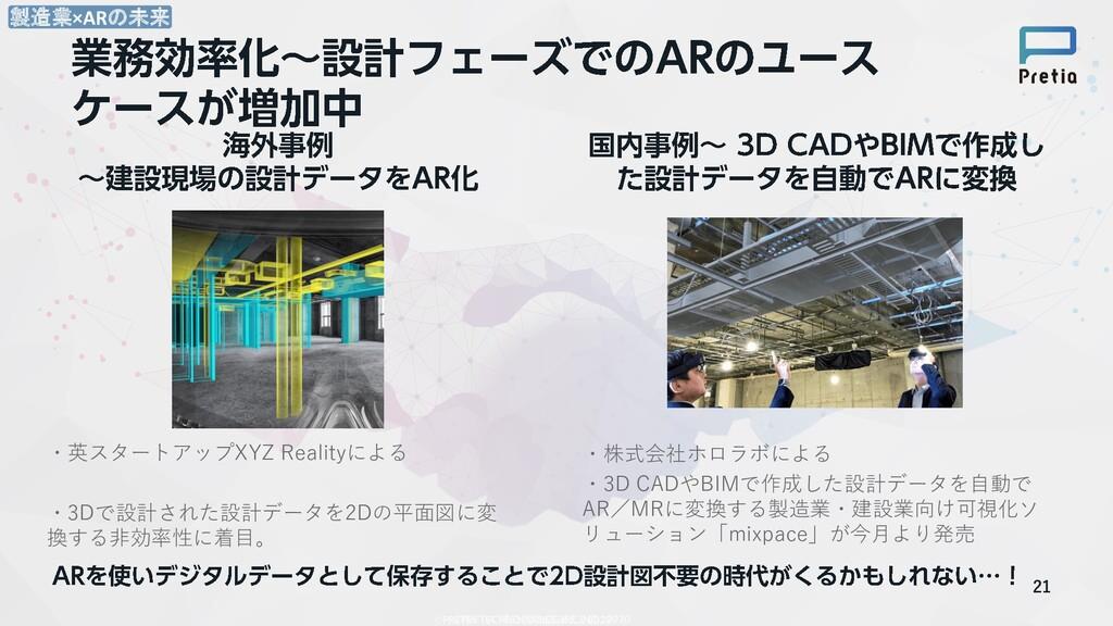 ・英スタートアップXYZ Realityによる ・3Dで設計された設計データを2Dの平面図に変...
