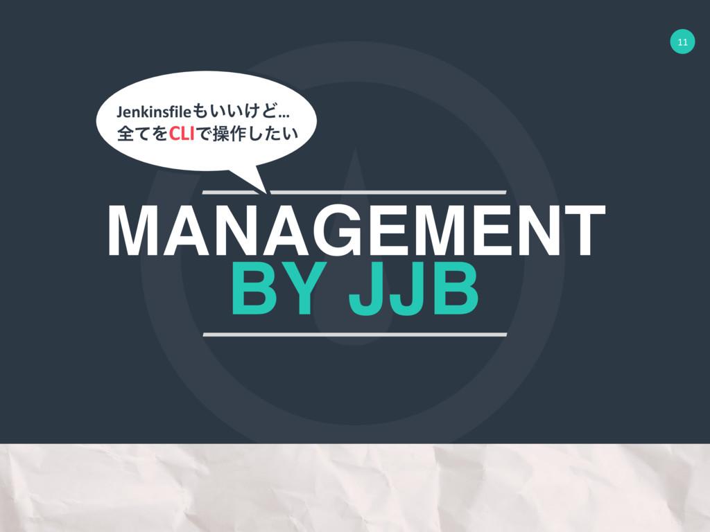 11 MANAGEMENT BY JJB શͯΛCLIͰૢ࡞͍ͨ͠ Jenkinsfile͍...
