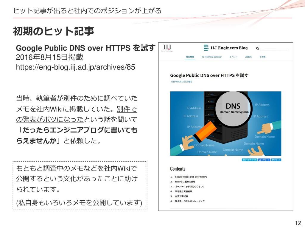 12 ヒット記事が出ると社内でのポジションが上がる 初期のヒット記事 Google Publi...