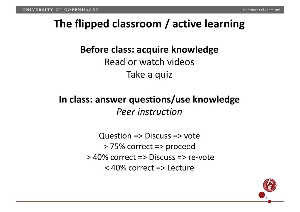 Department of Chemistry 2 The flipped classroom...