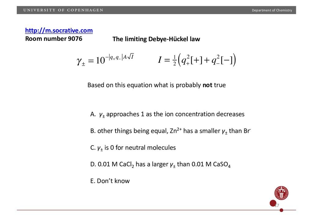 Department of Chemistry γ ± = 10− q+ q− A I I =...
