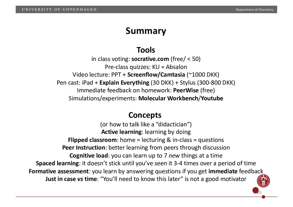 Department of Chemistry 20 Summary Tools in cla...
