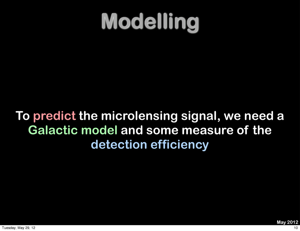 Modelling To predict the microlensing signal, w...