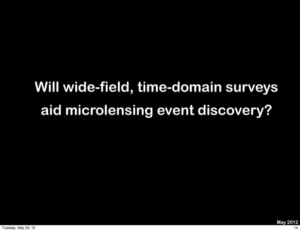 May 2012 Will wide-field, time-domain surveys a...