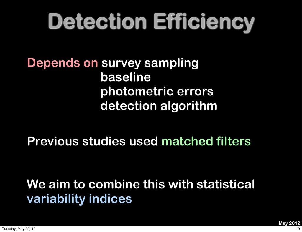 Detection Efficiency Depends on survey sampling...
