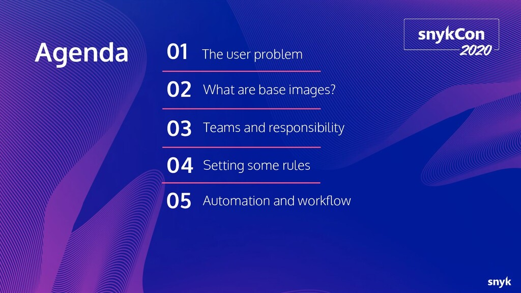 Agenda The user problem 01 What are base images...