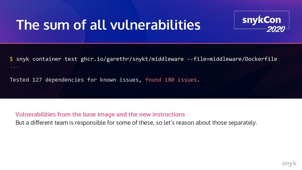 The sum of all vulnerabilities $ snyk container...
