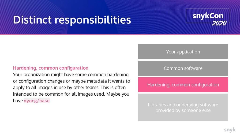 Distinct responsibilities Hardening, common con...