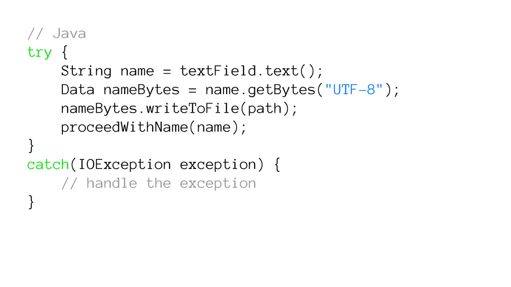 // Java try { String name = textField.text(); D...