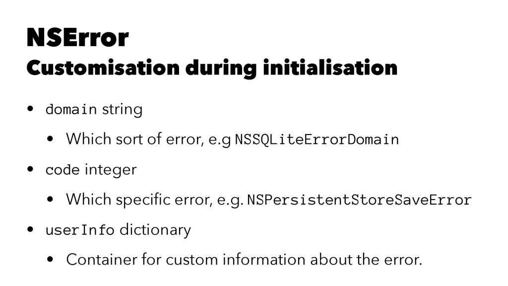 NSError Customisation during initialisation • d...