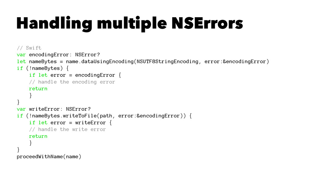 Handling multiple NSErrors // Swift var encodin...