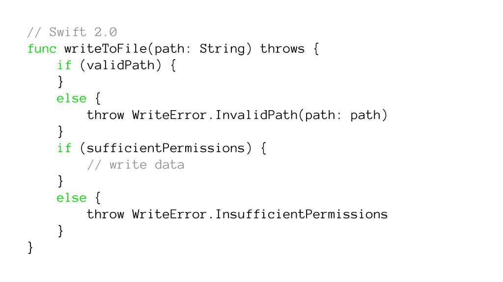 // Swift 2.0 func writeToFile(path: String) thr...