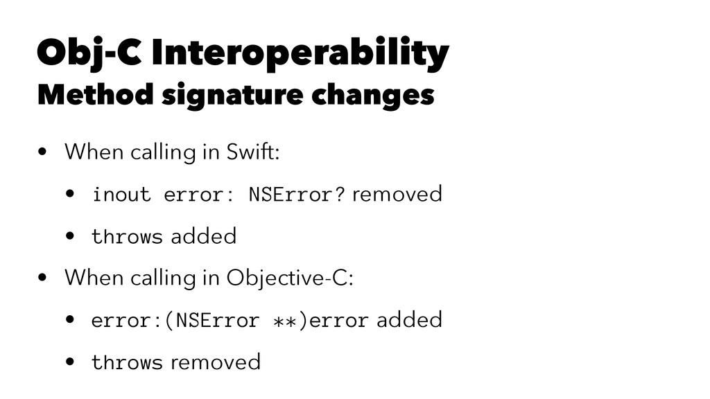 Obj-C Interoperability Method signature changes...