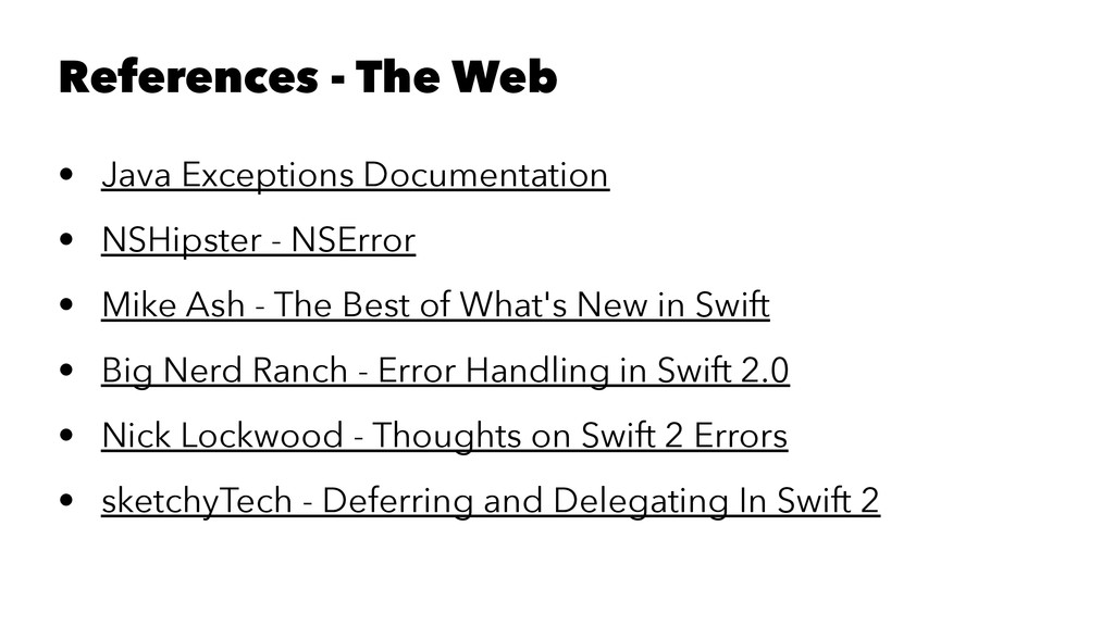 References - The Web • Java Exceptions Document...