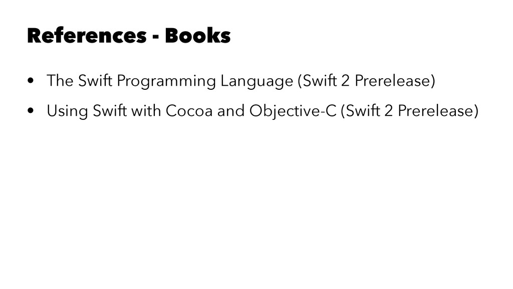 References - Books • The Swift Programming Lang...