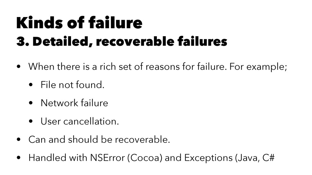 Kinds of failure 3. Detailed, recoverable failu...