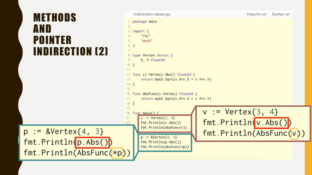 METHODS AND POINTER INDIRECTION (2)
