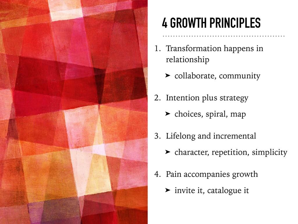 4 GROWTH PRINCIPLES 1. Transformation happens i...